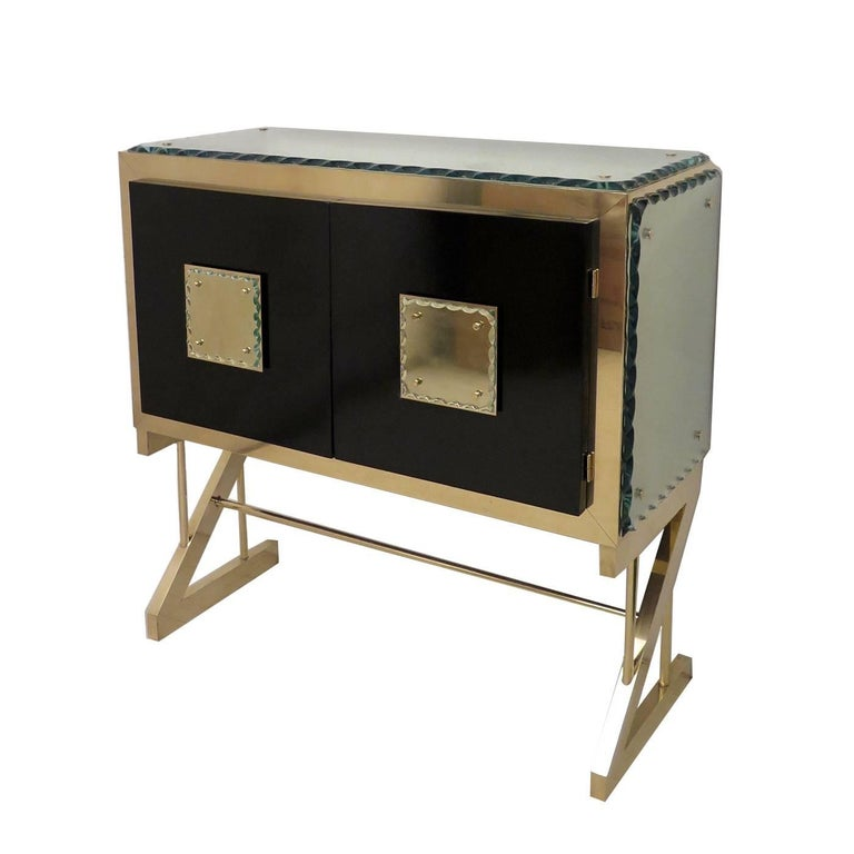 Console in Brass and Glass For Sale