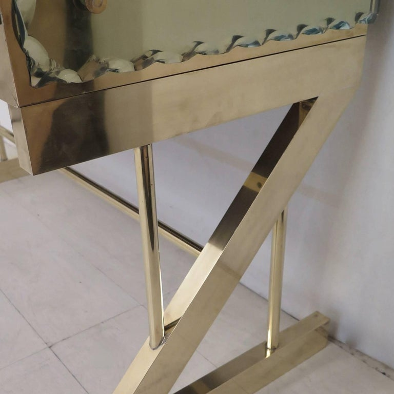 Contemporary Console in Brass and Glass For Sale