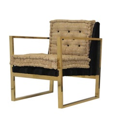 Set of Two Black and Brown Armchairs in Brass