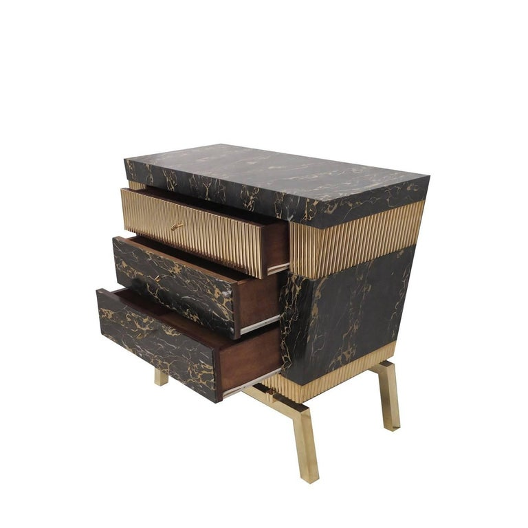 Egyptian Revival Chest of Drawers with Marble and Brass For Sale
