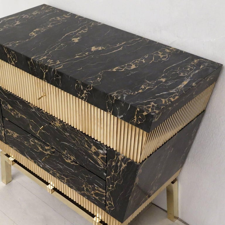 Italian Chest of Drawers with Marble and Brass For Sale