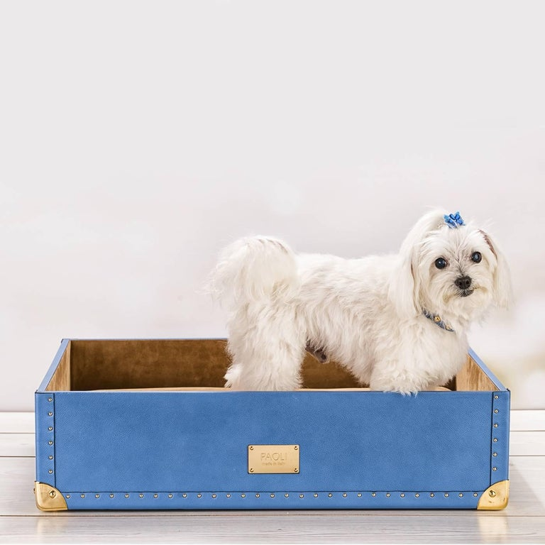 This sophisticated bed for a cat or a dog elevates a simple everyday object to luxurious statement piece and is inspired by the old-fashioned design of traditional traveling trunks. The external cover is in pale blue Saffiano leather with an