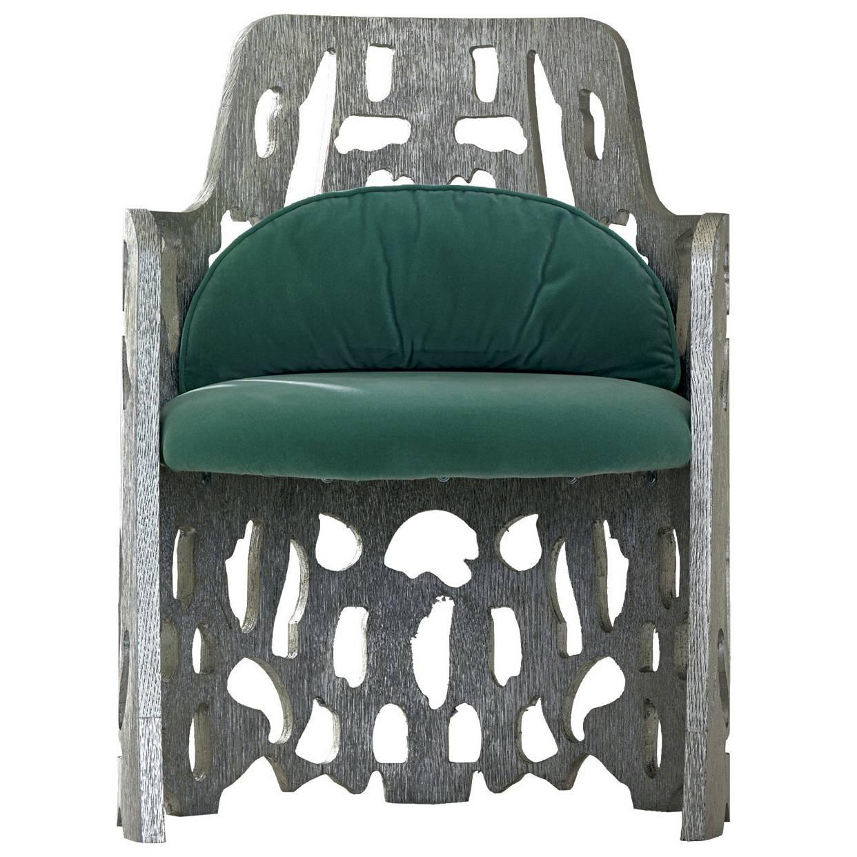 Charmant Arnaldo Silver Armchair For Sale