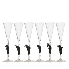Set of Six Mito Murano Glass Flutes