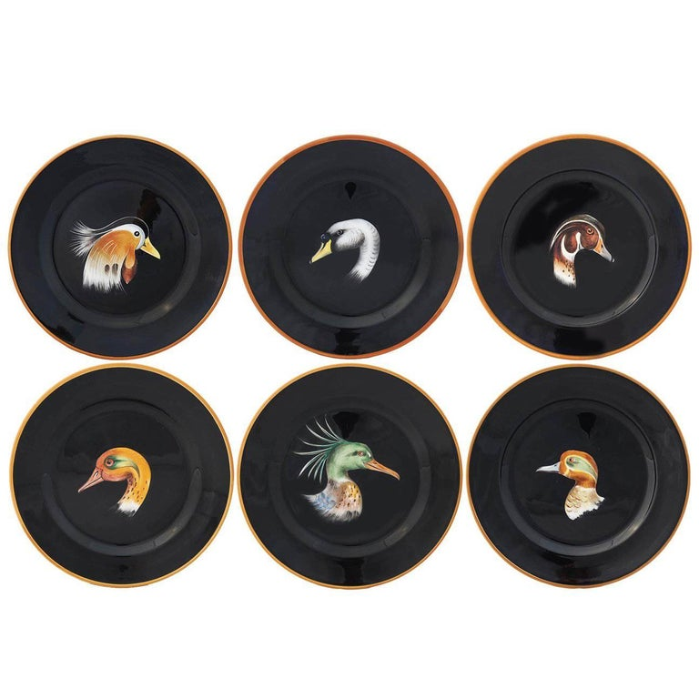 Set of Six Wild Ducks Ceramic Dinner Plates For Sale