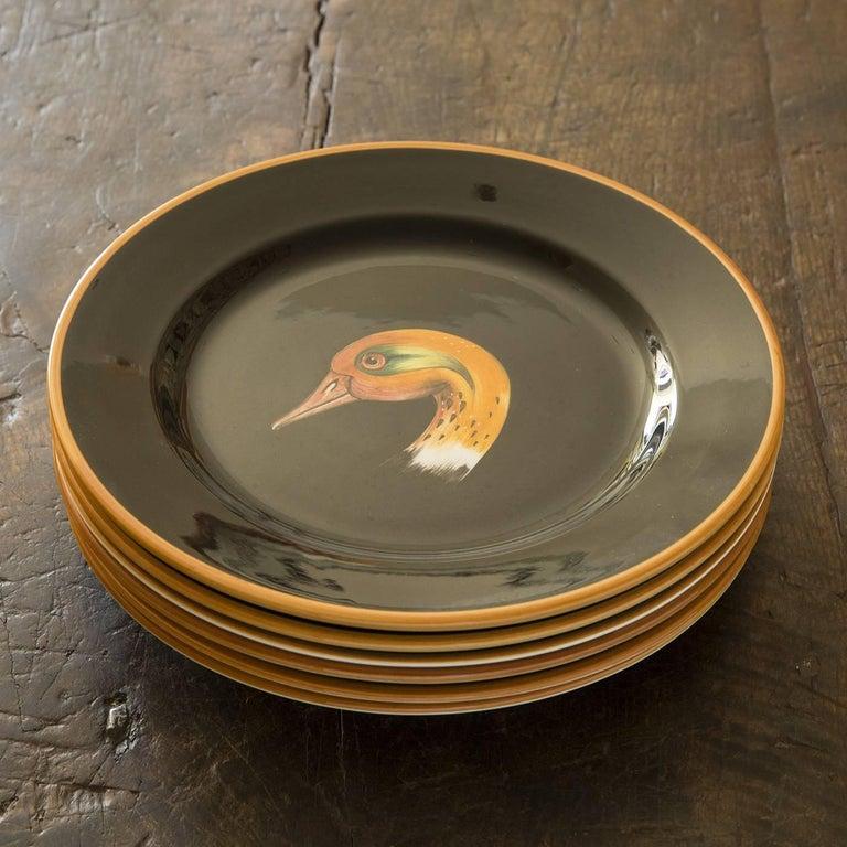 Set of Six Wild Ducks Ceramic Dinner Plates For Sale 2