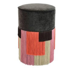Couture Black Pouf with Geometric Fringe