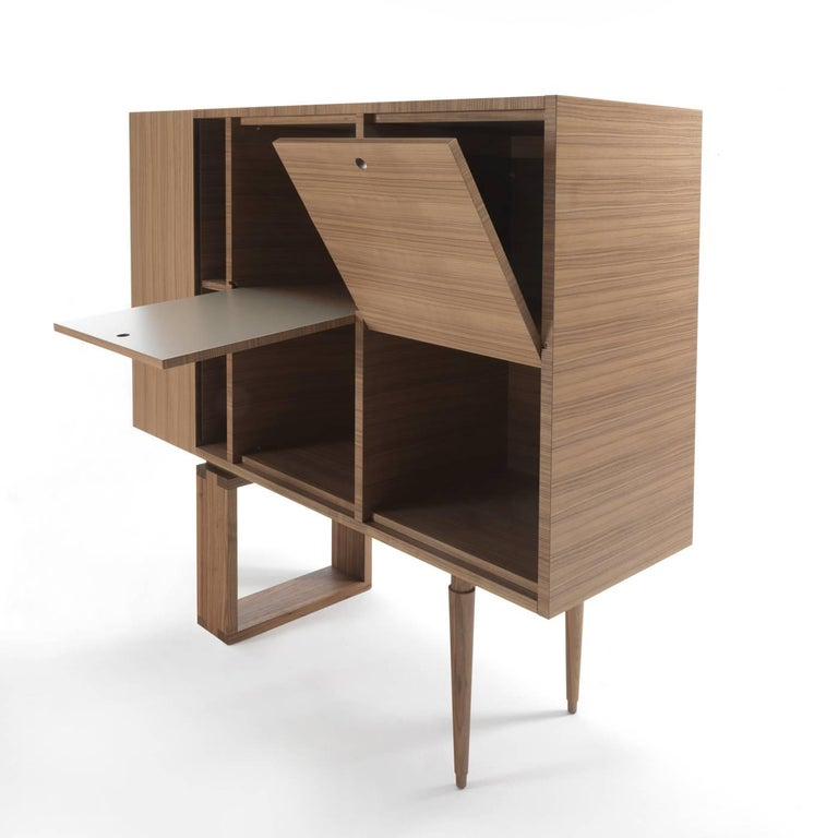 This striking cabinet features a vertical side container on the left with a narrow double shelf next to it. The central space is divided into four quadrants that liberally move with doors that can be flipped open thanks to an ingenious joint secured