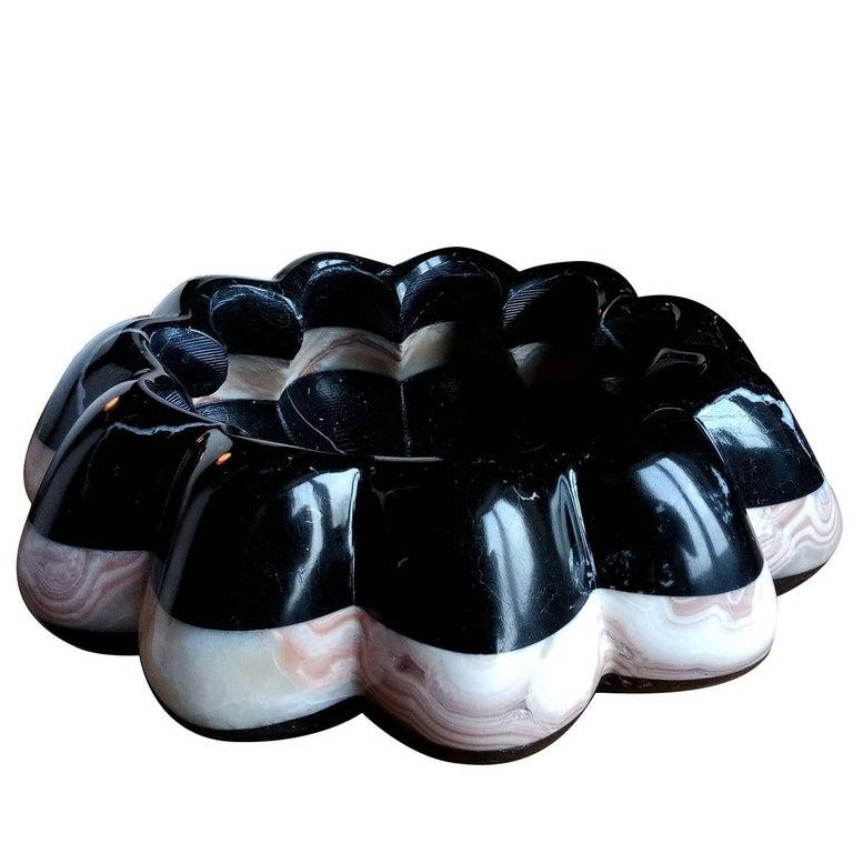 Vertigo Black and White Marble Bowl