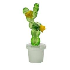 Cactus Murano Glass Vase with Yellow Rose