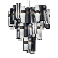 La Lollo Extra Large Black and White Ceiling Lamp by Lorenza Bozzoli