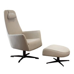 Valentina Set of Armchair with Swivel Base and Ottoman