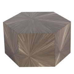 Brown Hexagonal Side Table