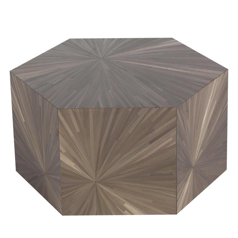 Brown Hexagonal Side Table