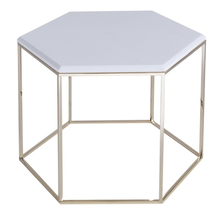 Hexagonal Side Table with Marble