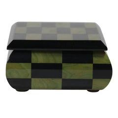 Black and Green Inlaid Wooden Box