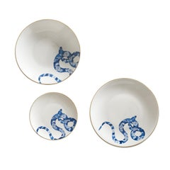 Japanese Snake Set of Three Limoges Porcelain Dishes