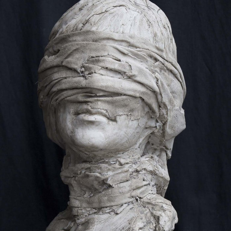 This stunning objet d'art, handcrafted of gypsum by sculptor Raffaello Romanelli in 2015, won the award Premio Firenze in Palazzo Vecchio, Florence. This powerfully evocative piece portraits the bust of a blindfold woman, like in the traditional
