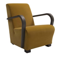 Marylin Armchair with Brown Leather Armrests