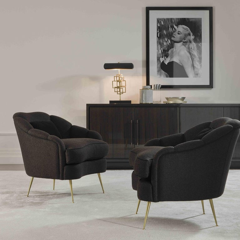 Brass Camelia Armchair For Sale