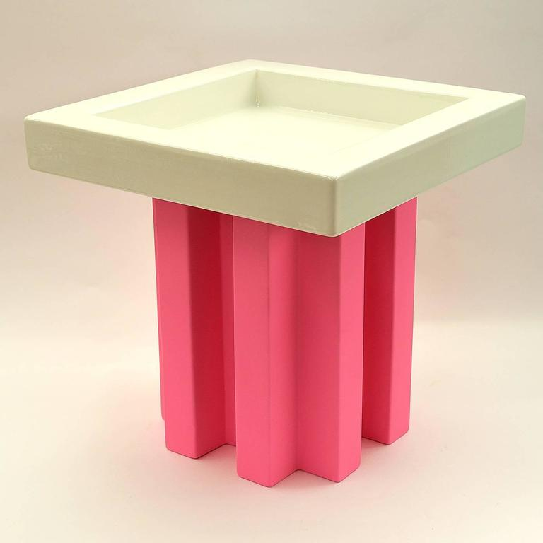 White and Pink Fruit Tray by Ettore Sottsass 2