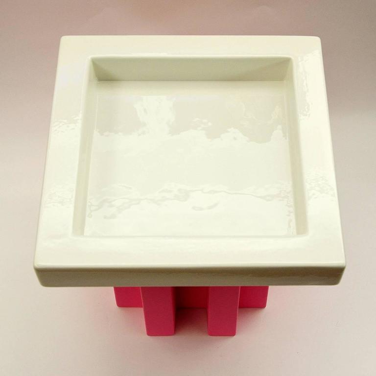 White and Pink Fruit Tray by Ettore Sottsass 3