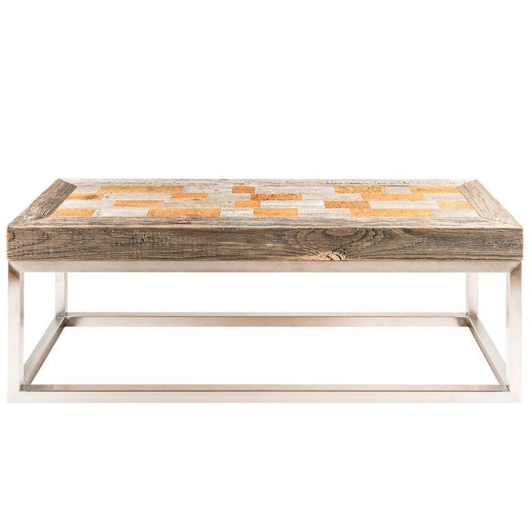 This Rectangular Coffee Table Features A Massive Wooden Top Divided In Multicolored Rectangles Skilfully Embedded On