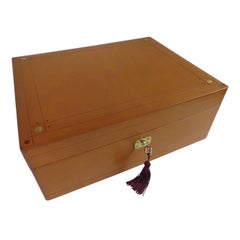 Brown Leather Sewing Box