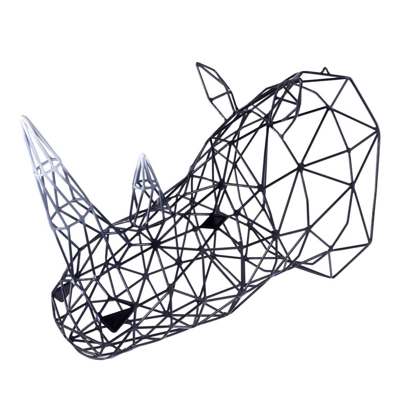 Black Rhino Head Iron Sculpture