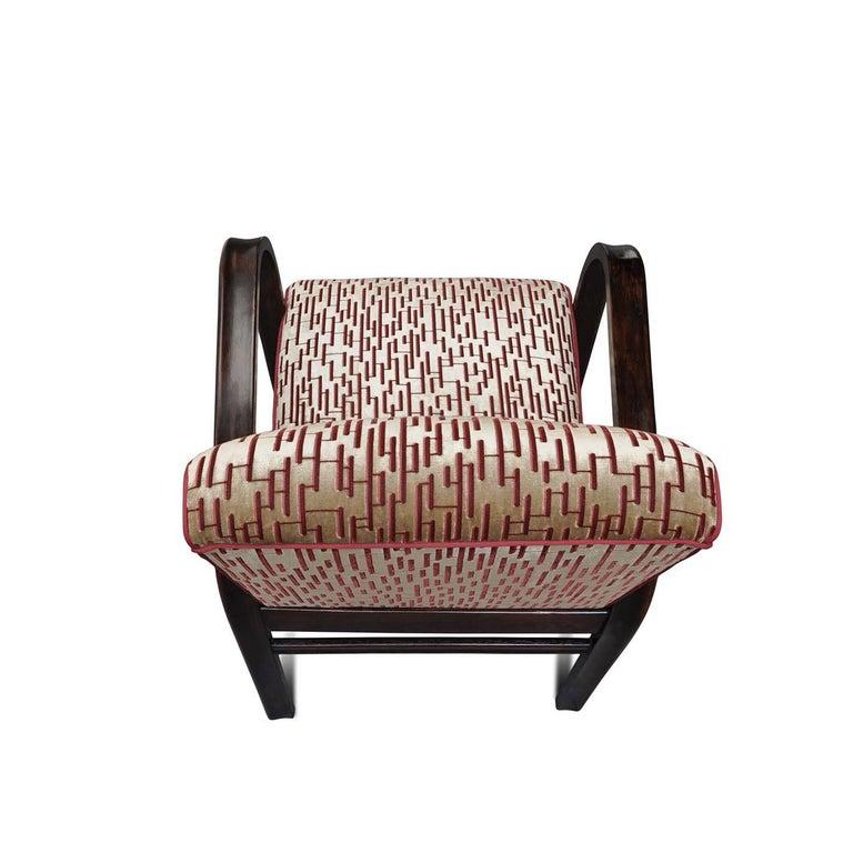 Textile Art Deco Lounge Chair For Sale