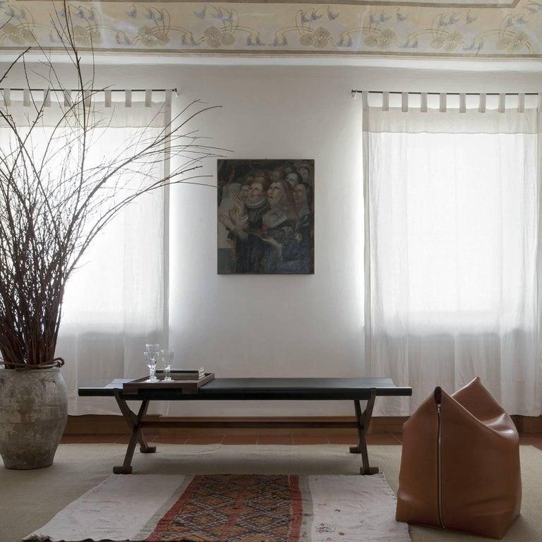 Italian Branda Leather Bench For Sale