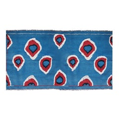 Hand Embroidered Ikat Kilim in Blue Red and White
