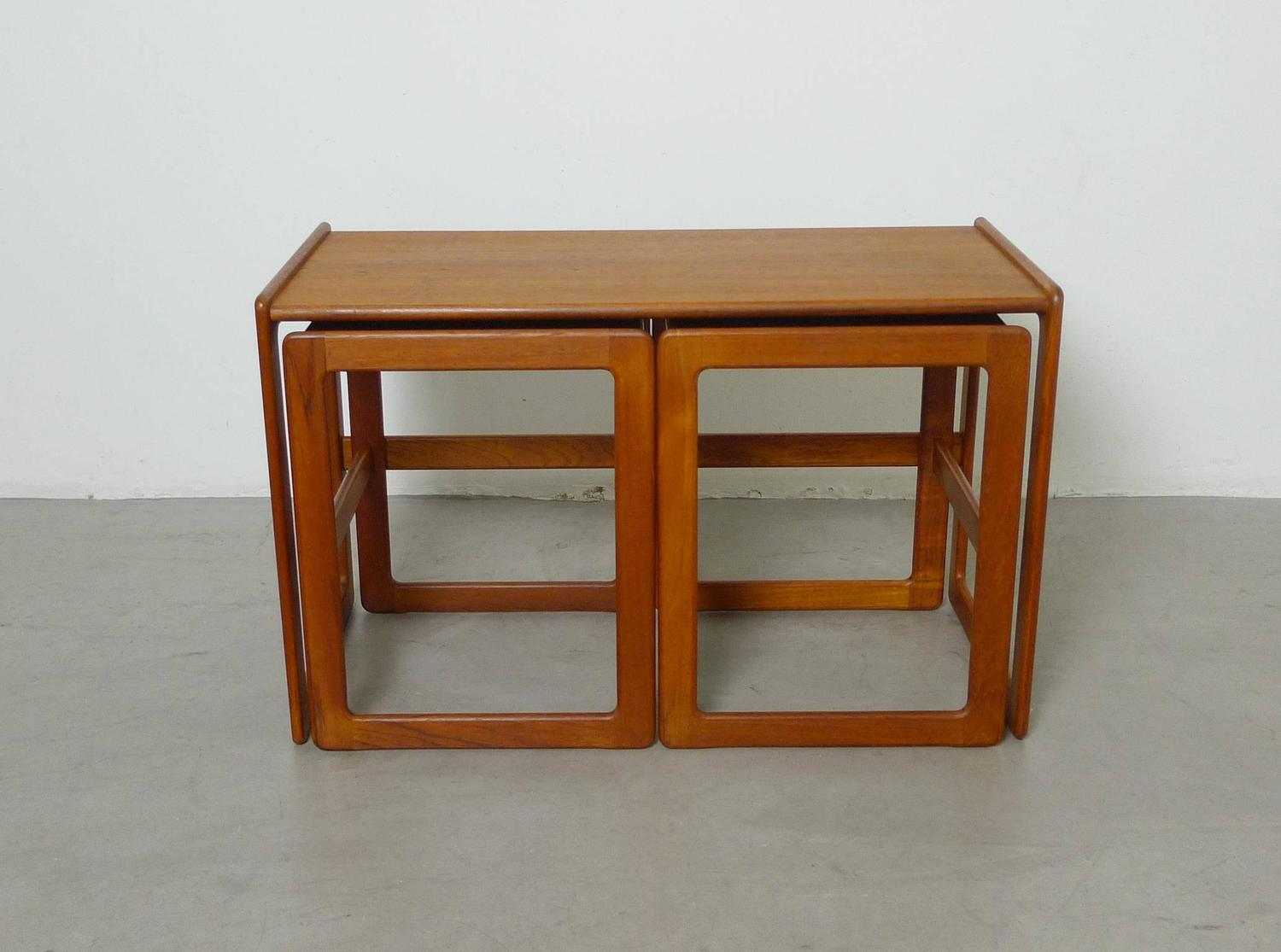 Set Of Three Arne Hovmand Olsen Nesting Tables For Mogens Kold . Full resolution  photograph, nominally Width 1500 Height 1115 pixels, photograph with #7A390D.