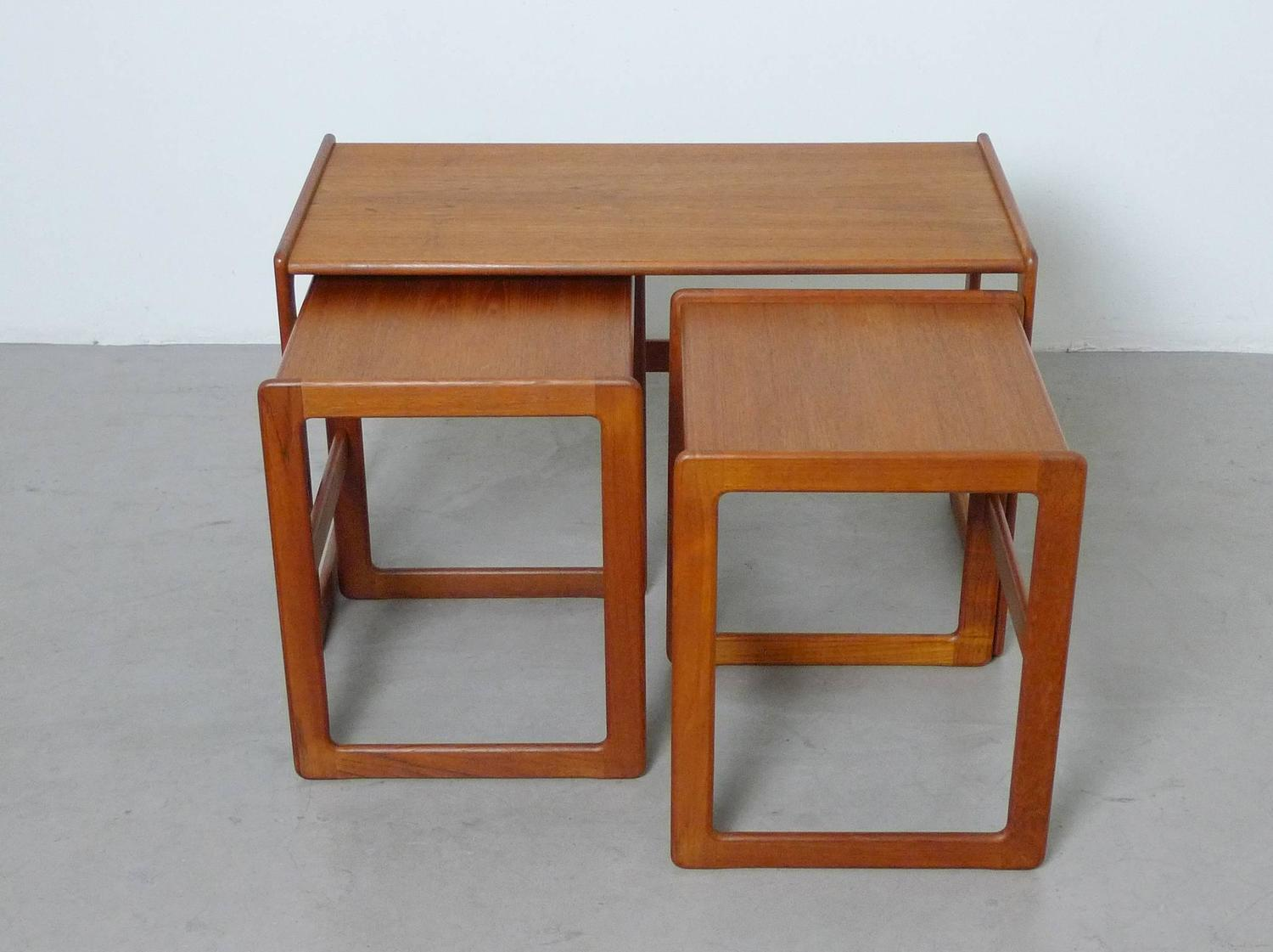 Set Of Three Arne Hovmand Olsen Nesting Tables For Mogens Kold . Full resolution  photograph, nominally Width 1500 Height 1121 pixels, photograph with #823F19.
