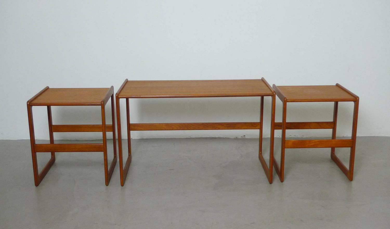 Set Of Three Arne Hovmand Olsen Nesting Tables For Mogens Kold . Full resolution  photograph, nominally Width 1500 Height 879 pixels, photograph with #6E3816.