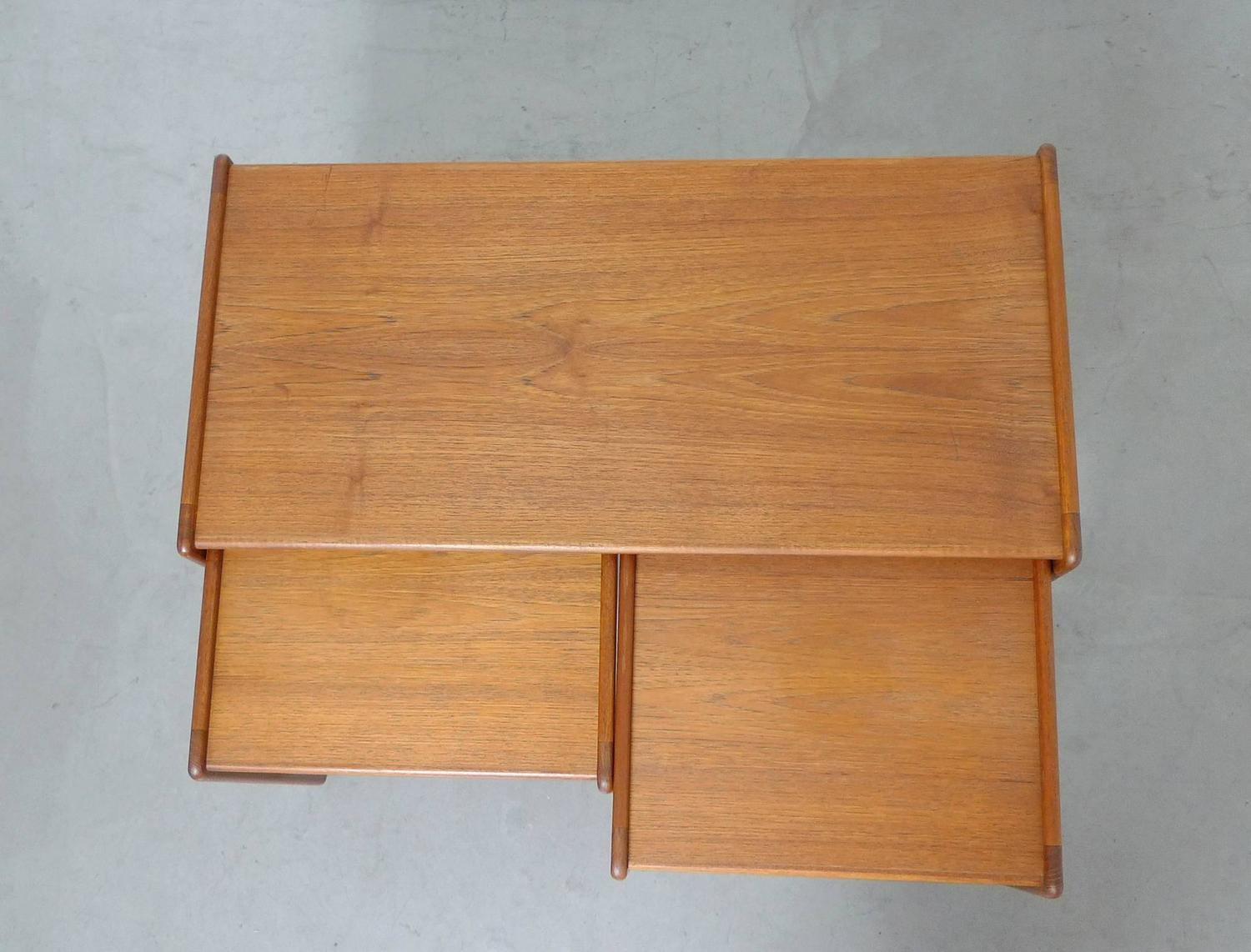 Set Of Three Arne Hovmand Olsen Nesting Tables For Mogens Kold . Full resolution  photograph, nominally Width 1500 Height 1142 pixels, photograph with #87481F.