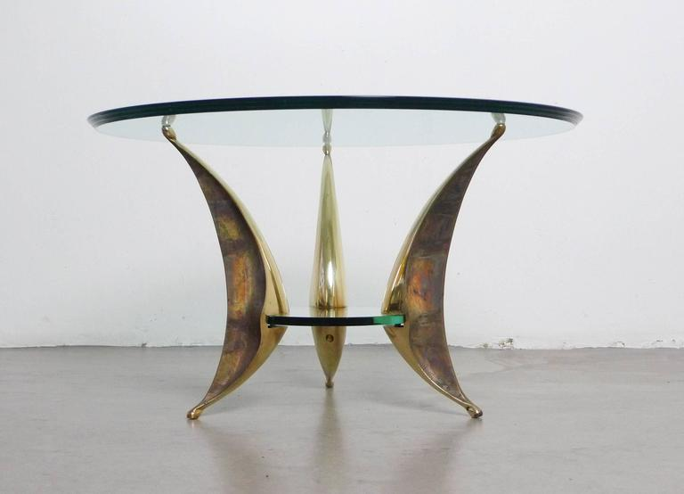 Italian Sculptural Coffee Table with Massive Brass Feet and Two Glass Plates from Italy For Sale