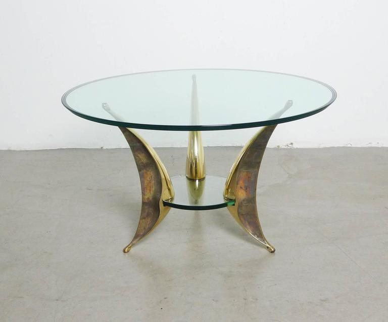 20th Century Sculptural Coffee Table with Massive Brass Feet and Two Glass Plates from Italy For Sale