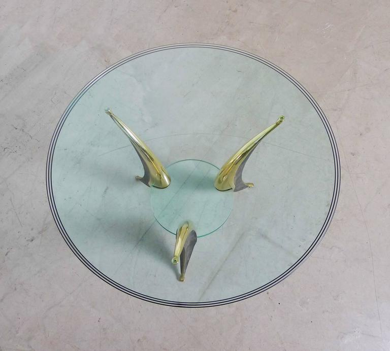 Sculptural Coffee Table with Massive Brass Feet and Two Glass Plates from Italy For Sale 1
