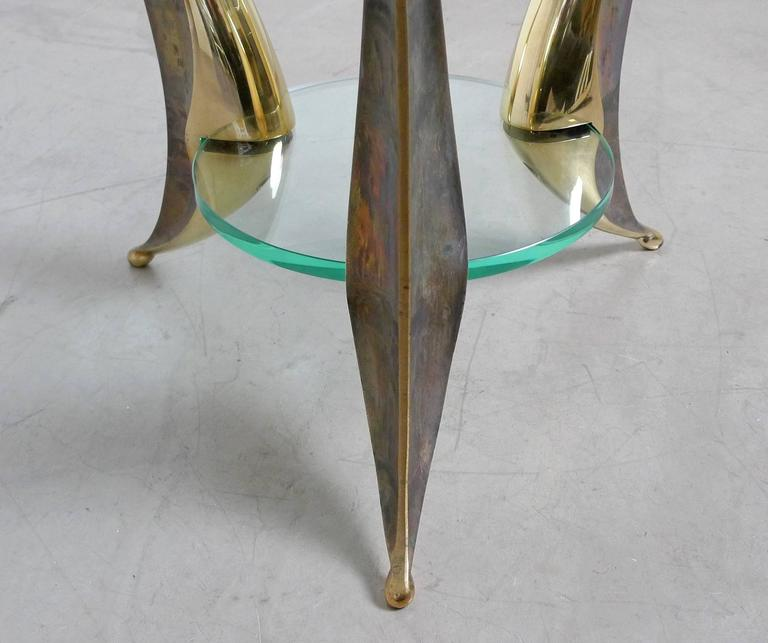 Sculptural Coffee Table with Massive Brass Feet and Two Glass Plates from Italy For Sale 3