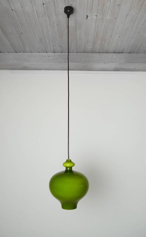 Green pendant lamp of handblown glass by holmegaard for staff mid century modern green pendant lamp of handblown glass by holmegaard for staff germany aloadofball Choice Image