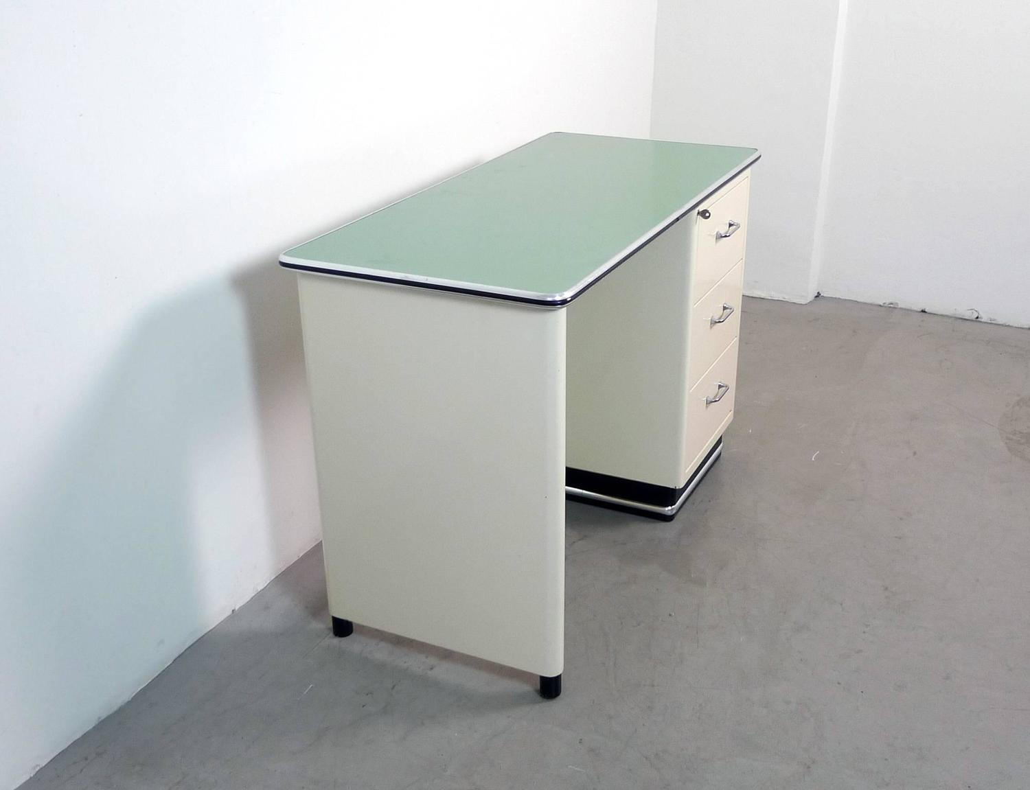 Beige Metal Desk with Mint Green Plate from Baisch