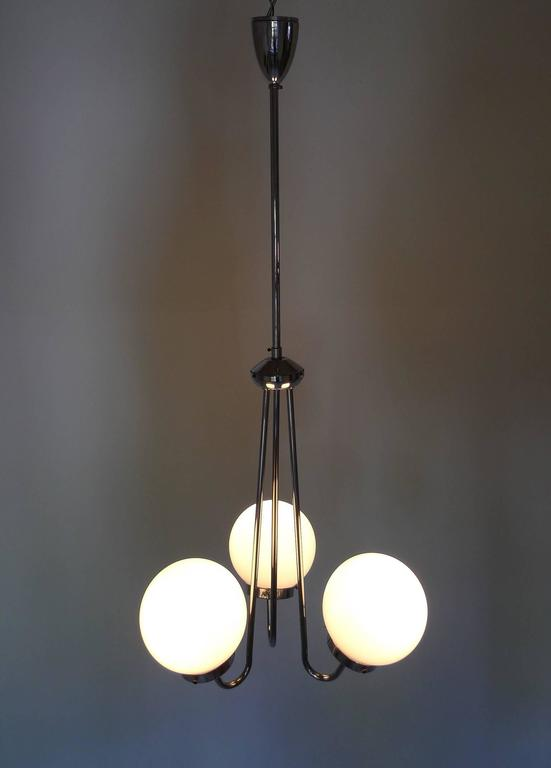 Art D 233 Co Pendant Lamp With Three Glass Globes From Zukov