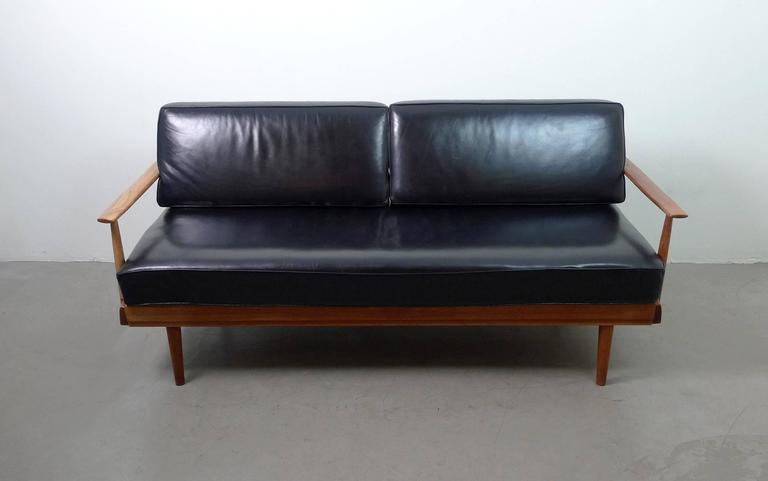 walter knoll teak sofa bed with black leather cushions germany 1950s at 1stdibs. Black Bedroom Furniture Sets. Home Design Ideas