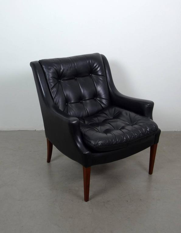 black leather armchair from walter knoll germany 1960s 3