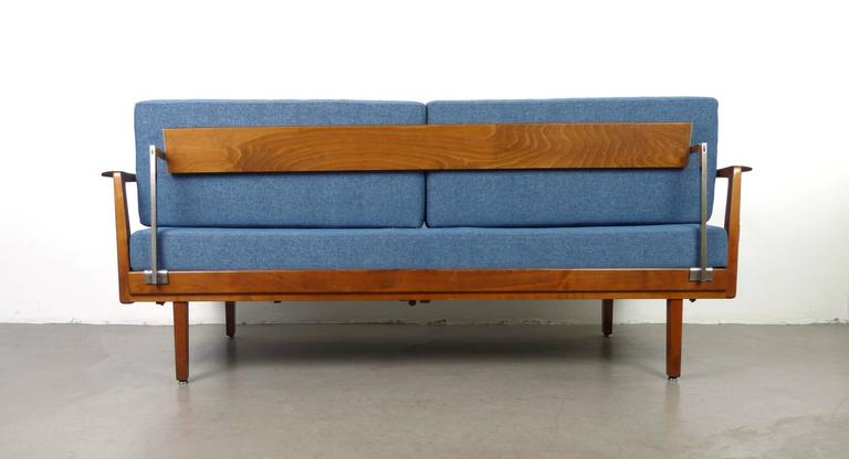 Walter knoll sofa bed with walnut frame from the 1950s for Sofa bed made in germany