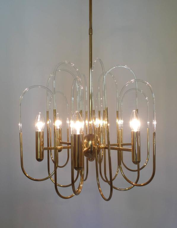 20th Century Brass Chandelier by Gaetano Sciolari for Sciolari Lighting, Italy, 1960s For Sale