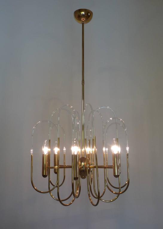 Brass Chandelier by Gaetano Sciolari for Sciolari Lighting, Italy, 1960s For Sale 1