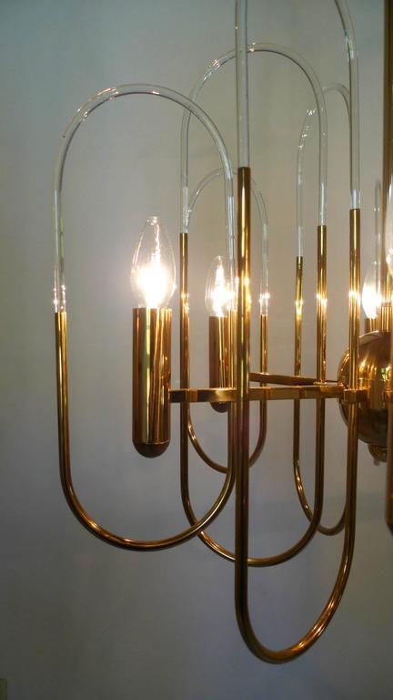 Brass Chandelier by Gaetano Sciolari for Sciolari Lighting, Italy, 1960s For Sale 2