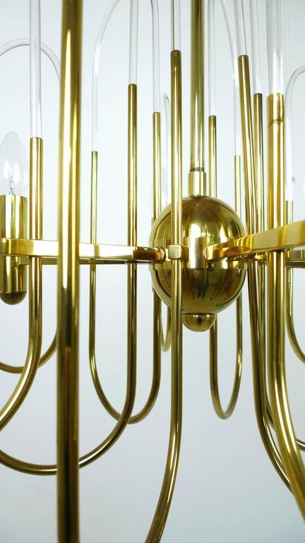 Brass Chandelier by Gaetano Sciolari for Sciolari Lighting, Italy, 1960s For Sale 3